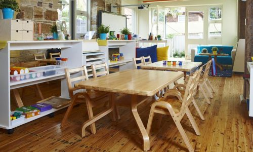 natural wood tables and seating