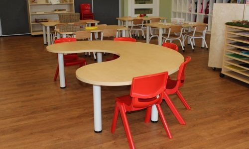versatek kidney table and red robust chairs